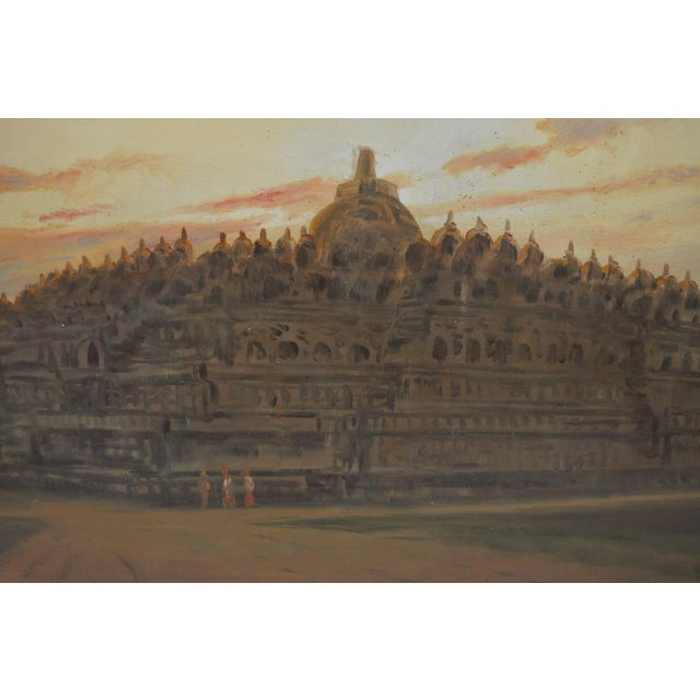 Frederik Kasenda (1921-1981) Rare Mid Century Painting of Borobudur Temple in Central Java c.1955 This is a spectacular...