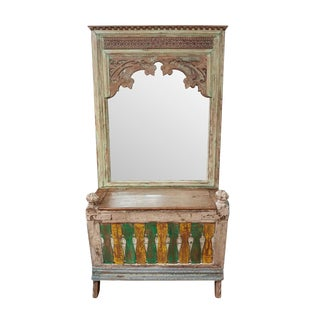 Vintage Indian Carved Mirror w/Trunk For Sale