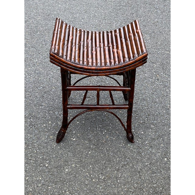 English Bamboo Bench or Stool With Faux Tortoise Finish For Sale - Image 9 of 9