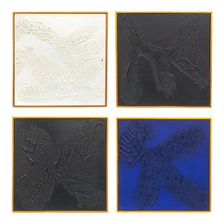 """Contemporary Minimalist Acrylic Paintings by Ron """"RG"""" Goins, Framed - Set of 4 For Sale"""
