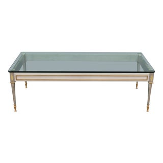 1960s French Maison Jansen Silver/ Gilt Coffee Table For Sale