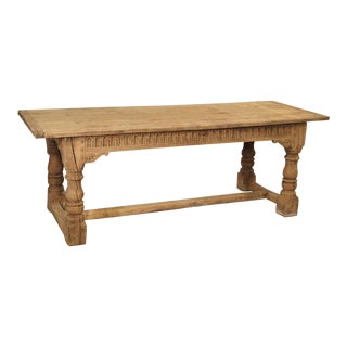 Stripped Antique Oak Jacobean Style Refectory Table From England, 19th Century For Sale