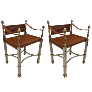 Pair of French Style Campaign Chairs For Sale