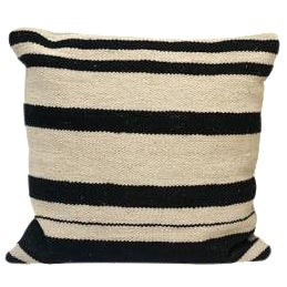 Square Black/White Striped Cotton Kilim Cushion For Sale