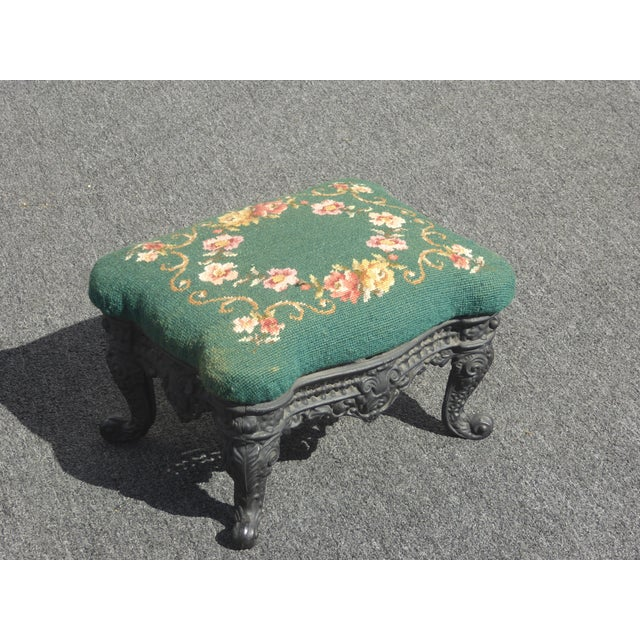 Vintage French Provincial Green Needlepoint Footstool W Ornate Cast Iron Base For Sale - Image 10 of 12