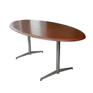 Stow Davis Oval Walnut Table Desk For Sale