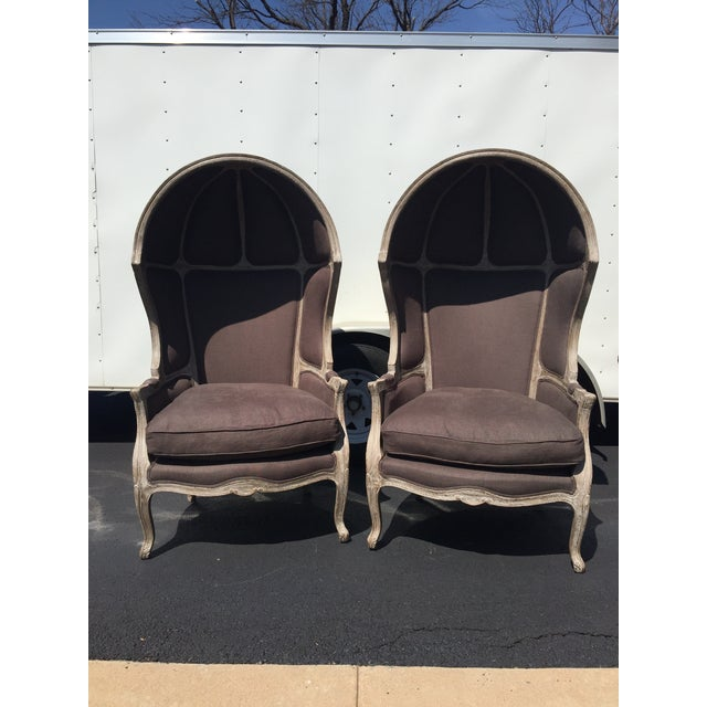 A pair of Restoration Hardware Versailles Dome Chairs with charcoal grayish-brownish colored linen fabric. The cushions...