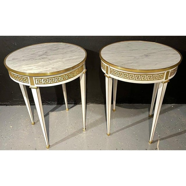 1960s Maison Jansen Style Pair of Bouillotte / End Tables, Side Table or Pedestals For Sale - Image 5 of 12