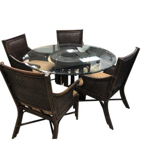Rattan & Glass Top Dining Set For Sale