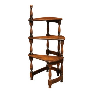 Mid-20th Century French Louis XIII Carved Library Spiral Step Ladder Staircase For Sale