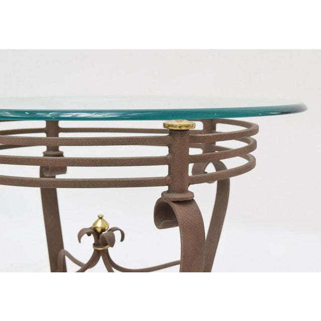 Art Deco 2000s Art-Deco Fer Forge Rusted Iron Finishing and Brass Finial Accent Table For Sale - Image 3 of 7