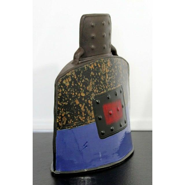 Mid Century Modern Studio Ceramic Red Square Vessel Vase Table Sculpture For Sale - Image 4 of 9
