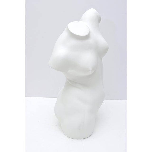 Large Scale Nude Female Torso Sculpture in Cast Plaster For Sale - Image 4 of 10
