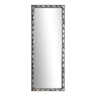 Contemporary Italian Pewter Leaf Framed Mirror For Sale