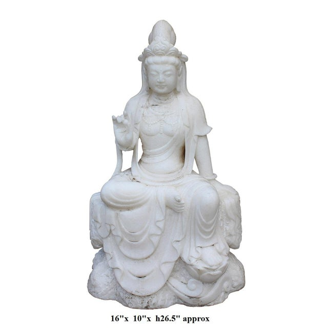 Chinese Marble Stone Kwan Yin Tara Bodhisattva Statue For Sale - Image 5 of 5