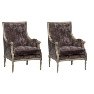 Sarreid Ltd Velvet 'Orleans' Salon Chair - a Pair