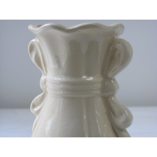 Cream Vase With Ribbon Handles For Sale In New York - Image 6 of 9