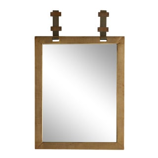 Antique Brass Framed Mirror For Sale