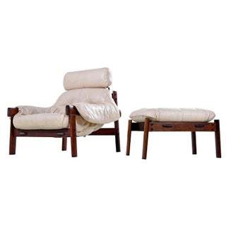 Percival Lafer Brazilian Blush Ivory Leather Rosewood Lounge Chair and Ottoman Preview