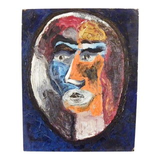 Mid 20th Century Abstract Portrait Oil Painting by Meyer Kupferman For Sale