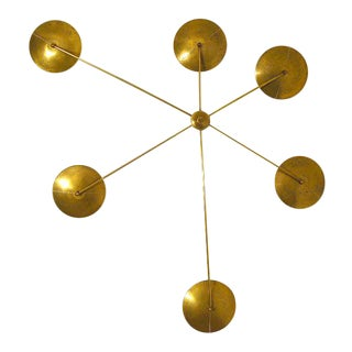 1960s Mid-Century Gold Brass Wall Lamp For Sale