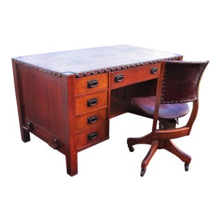 1900s Antique Early Gustav Leather Top Office Desk & Swivel Chair For Sale