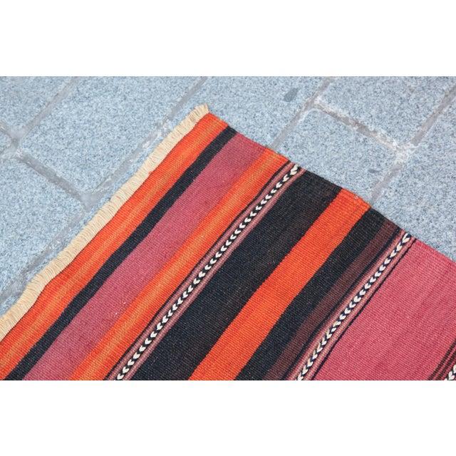 Turkish Floor Orange Stripe Kilim Rug - 4' x 2' 7'' - Image 5 of 11