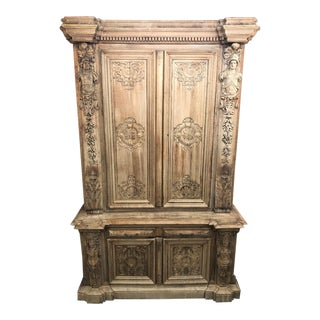 19th Century Monumental French Renaissance Figural Carved Oak Bookcase For Sale
