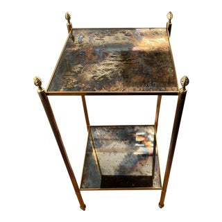 1960s French Maison Jansen Brass Mirrored Two-Tier End Table For Sale