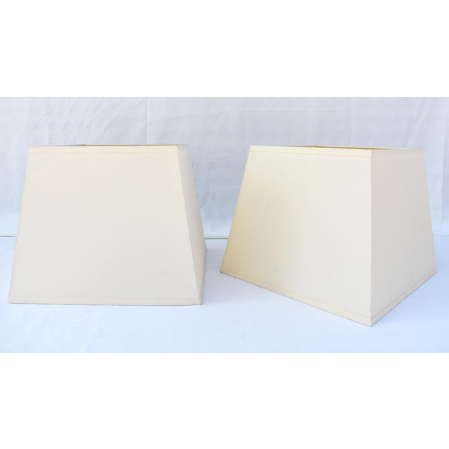 Ivory Silk Square Shades W/Diffusers - a Pair For Sale - Image 4 of 4