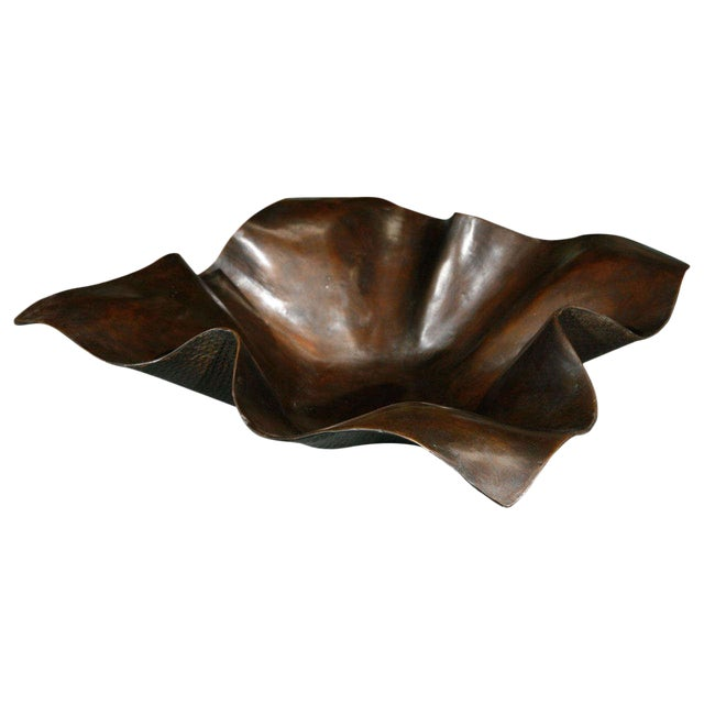 Large Bronze Handkerchief Planter For Sale