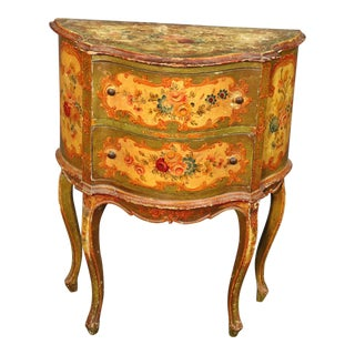 1930s Vintage Italian Venetian Distressed Painted Nightstand End Table For Sale
