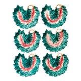 Image of Vintage Pink & Green Leaf Shaped Plates- Set of 6 For Sale
