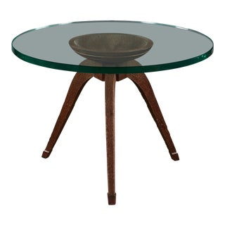 Rare and Spectacular Osvaldo Borsani Chiselled and Hand-Craved Wood Low Table For Sale