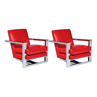 Thayer Coggin Stainless Steel Lounge Chairs- A Pair For Sale