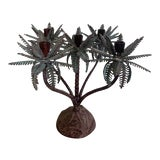 Image of 1960s Tole Palm Tree Candelabra Taper Holder For Sale