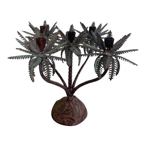 1960s Tole Palm Tree Candelabra Taper Holder For Sale