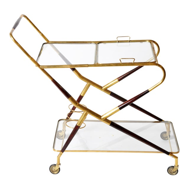 Vintage Glass and Brass Bar Cart For Sale
