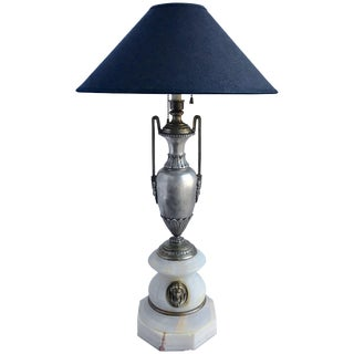 French Marble and Metal Urn Table Lamp With Figural Bust For Sale