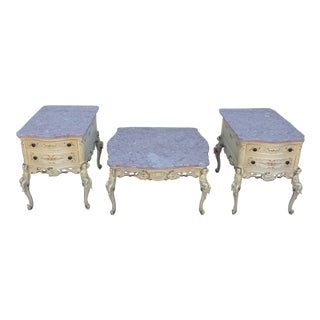 Italian Provincial 3-Piece Pink Marble Coffee and End Table Set - 3 Pieces For Sale