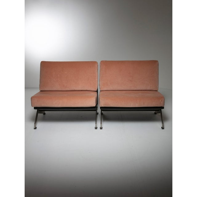 Set of two lounge chairs by Gianni Moscatelli for Formanova. Aluminum base, artificial leather and pink Dedar velvet for...