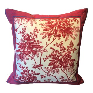 French Style Antique Ticking & Toile Pillow For Sale
