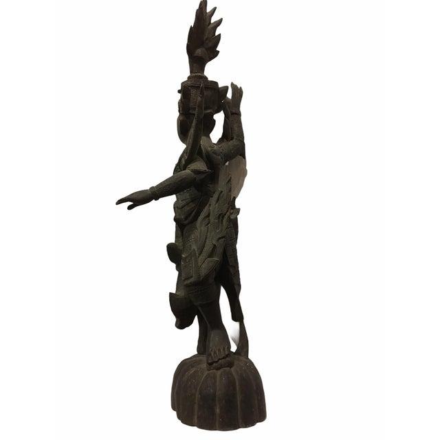 1920s Antique 1920s Carved Khamphi Rosewood Burmese Temple Guardian Statue For Sale - Image 5 of 10