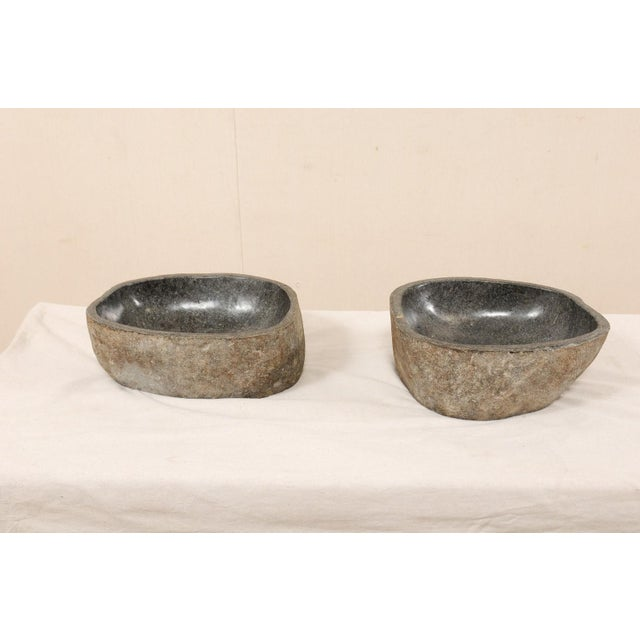 Pair of Carved and Polished Grey River Rock Sink Basins For Sale - Image 4 of 12