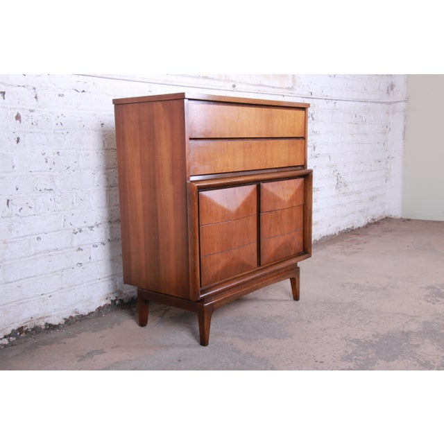 Danish Modern Mid-Century Modern Sculpted Walnut Diamond Front Highboy Dresser by United For Sale - Image 3 of 13