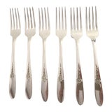 Image of 1940s Traditional Carlton Silver Plate Floral Dinner Forks - Set of 6 For Sale