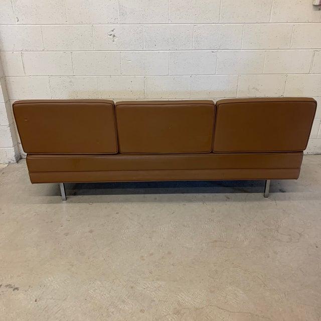 Mid Century Modern Vinyl Hassock Sofa For Sale - Image 4 of 13