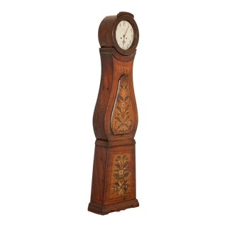 Antique Original Brown Painted Swedish Mora Grandfather Clock For Sale