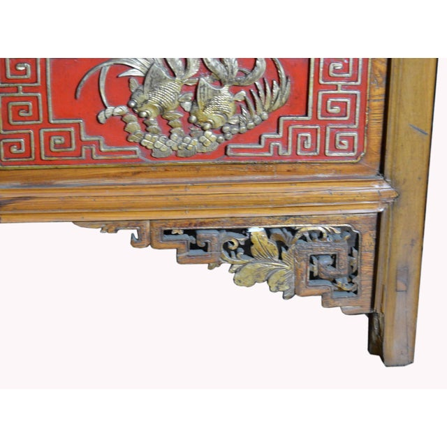 19th Century Chinese Qing Dynasty Wooden Armoire With Hand-Carved Gilt Panels For Sale In New York - Image 6 of 13