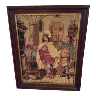 Antique Framed Needlepoint & Beadwork Tapestry For Sale